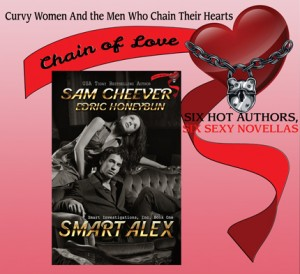 The cover of Sam Cheever's book Smart Alex is dark with a brooding mysterious couple on it.