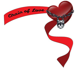 The chain of love logo is a heart with a chain and padlock across it and with some ribbons flying off