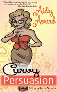 The cover of Curvy Persuasion has a pretty blond wearing a bustier, a skirt, and thigh high stockings attached to a garter. She's got glasses and is tapping her lip with a pencil